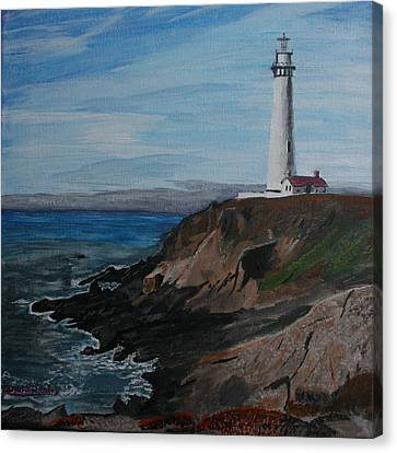 Canvas Print featuring the painting Pigeon Lighthouse Daytime Titrad by Ian Donley
