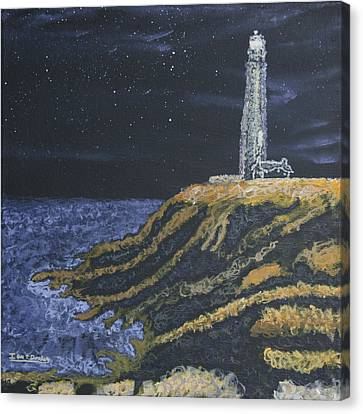 Canvas Print featuring the painting Pigeon Lighthouse Night Scumbling Complementary Colors by Ian Donley