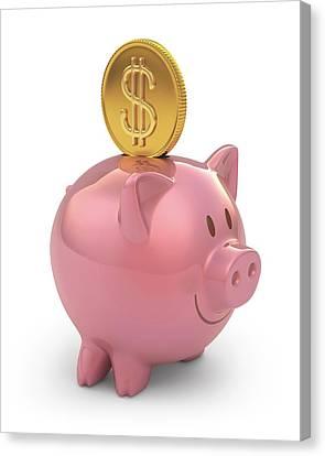 Piggy Bank Canvas Print - Piggy Bank And Gold Coin by Ktsdesign