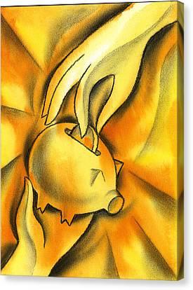 Reward Canvas Print - Piggy Bank by Leon Zernitsky