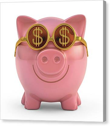 Piggy Bank Canvas Print - Piggy Bank With Sunglasses by Ktsdesign