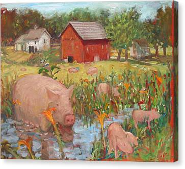 Pigs And Lilies Canvas Print