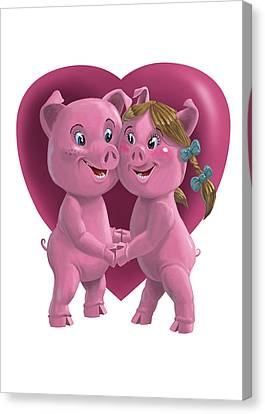 Pigs In Love Canvas Print