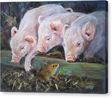 Pigs Vs Mouse Canvas Print