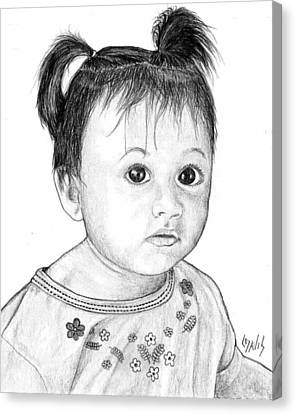 Canvas Print featuring the drawing Pigtails 2 by Lew Davis