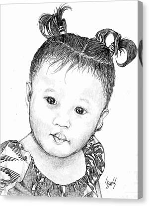 Canvas Print featuring the drawing Pigtails by Lew Davis