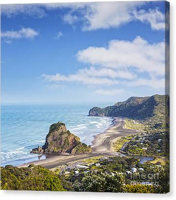 Auckland Canvas Print - Piha And Lion Rock New Zealand by Colin and Linda McKie