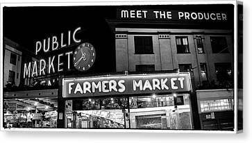 Pike Place Market At Night Canvas Print by Tanya Harrison