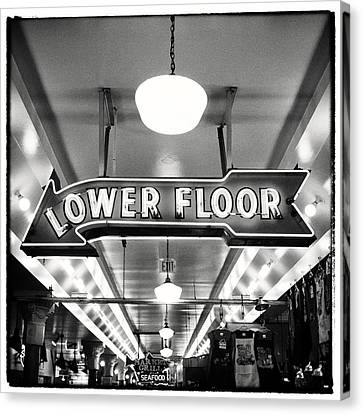 Pacific Northwest Canvas Print - Pike Place Market Lower Floor Sign by Tanya Harrison