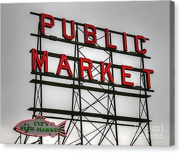 Pike Place Public Market Sign Canvas Print by Tap On Photo