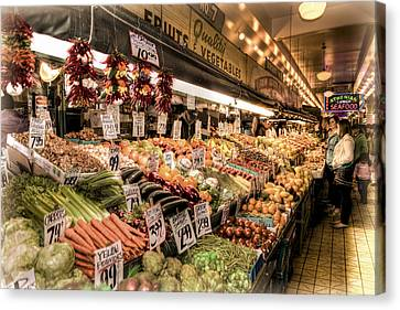 Pike Place Veggies Canvas Print by Spencer McDonald