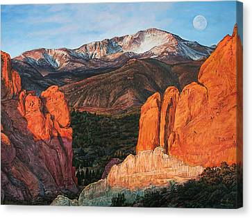 Canvas Print featuring the painting Pikes Peak by Aaron Spong
