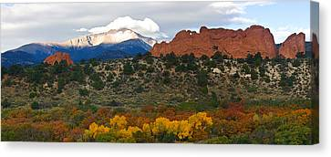 Canvas Print featuring the photograph Pikes Peak Fall Pano by Ronda Kimbrow