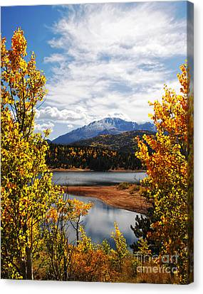 Pikes Peak In Autumn Canvas Print by Lincoln Rogers