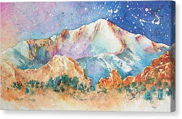 Pikes Peak Over The Garden Of The Gods Canvas Print