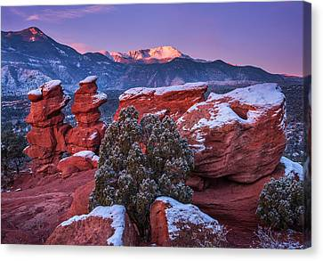 Pikes Peak Sunrise Canvas Print by Darren  White