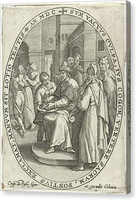 Pilate Washes His Hands In Innocence, Crispijn Van De Passe Canvas Print