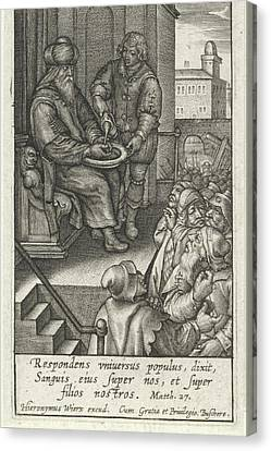 Pilate Washes His Hands In Innocence, Hieronymus Wierix Canvas Print
