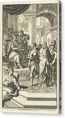 Pilate Washes His Hands In Innocence, Jan Luyken Canvas Print