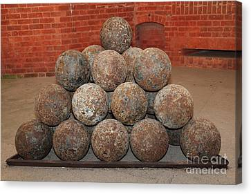 Pile Of Cannon At San Francisco Fort Point 5d21493 Canvas Print by Wingsdomain Art and Photography