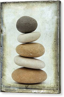 Stacked Canvas Print - Pile Of Pebbles by Bernard Jaubert