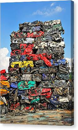 Pile Of Scrap Cars On A Wrecking Yard Canvas Print by Matthias Hauser