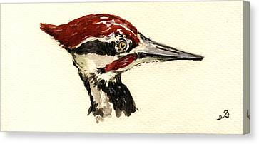 Pileated Woodpecker Head Study Canvas Print by Juan  Bosco