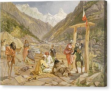 Pilgrims At Gangootree, From India Canvas Print