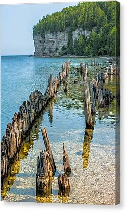 Pilings On Lake Michigan Canvas Print