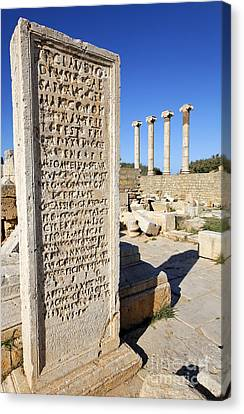 Pillar At The Old Forum At Leptis Magna In Libya Canvas Print by Robert Preston