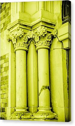 Ruin Canvas Print - Pillar In Yellow Tone by Tommytechno Sweden