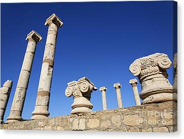 Pillars At The Old Forum At Leptis Magna In Libya Canvas Print by Robert Preston