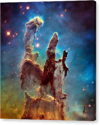 Pillars Of Creation In High Definition - Eagle Nebula Canvas Print by Jennifer Rondinelli Reilly - Fine Art Photography