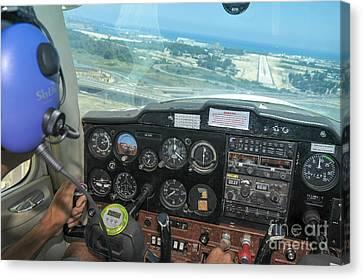 Pilot In Cessna Cockpit Canvas Print