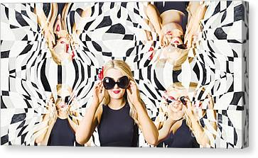 Pin Up Fashion Girl In Hall Of Mirrors Canvas Print by Jorgo Photography - Wall Art Gallery