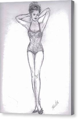 Canvas Print featuring the drawing Pin Up Girl by Desline Vitto