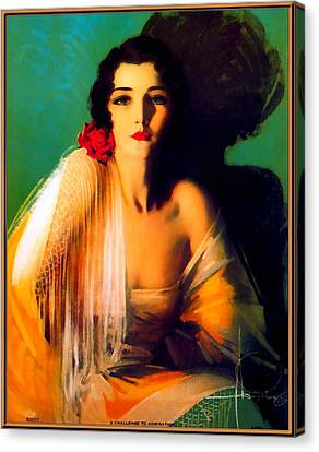 Pin Up Girl Green Background Canvas Print