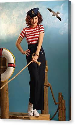 Pin-up Sailor Lady Canvas Print by Glenn Specht