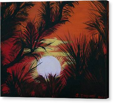 Pine Branch Silhouette Canvas Print by Sharon Duguay