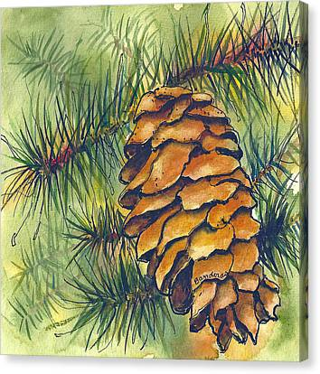 Canvas Print featuring the painting Pine Cone by Terry Banderas
