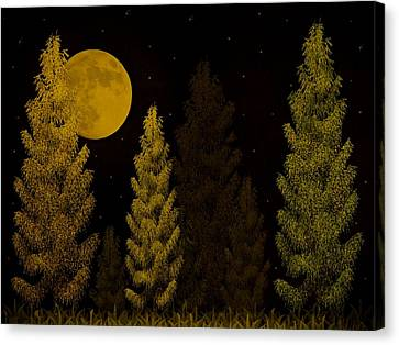 Pine Forest Moon Canvas Print by David Dehner