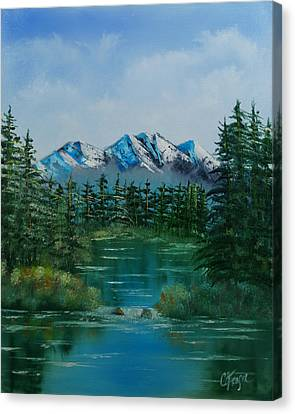 Canvas Print featuring the painting Pine Lake by Chris Fraser