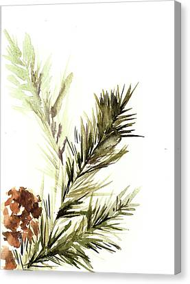 Pine Cones Canvas Print - Pine Leaves by Sophia Rodionov