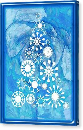 Winter Canvas Print - Pine Tree Snowflakes - Baby Blue by Anastasiya Malakhova