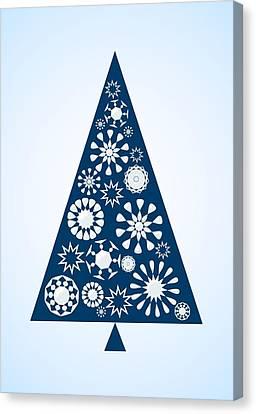 Pine Tree Snowflakes - Blue Canvas Print