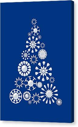 Pine Tree Snowflakes - Dark Blue Canvas Print by Anastasiya Malakhova