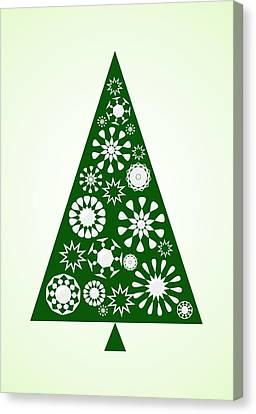 Pine Tree Snowflakes - Green Canvas Print by Anastasiya Malakhova
