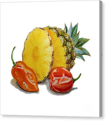 Pineapple And Habanero Peppers  Canvas Print
