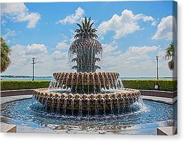 Canvas Print featuring the photograph Pineapple Fountain by Sennie Pierson