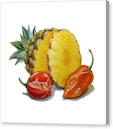 Pineapple Habanero Muy Caliente   Canvas Print by Irina Sztukowski